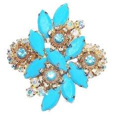 Juliana Brooch Turquoise Blue AB Rhinestone Filigree