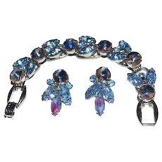 Juliana Bracelet Earrings Set Blue Art Glass Pink Givre Rhinestones