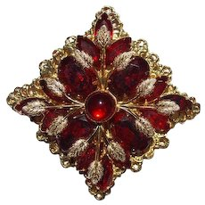 Red Rhinestone Brooch HUGE Victorian Revival Costume Jewelry