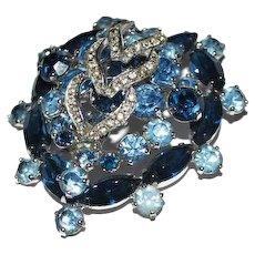 Weiss Brooch Blue Rhinestones Heart Shaped