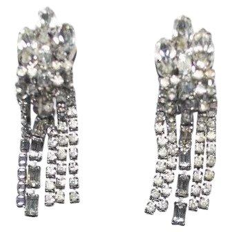 Long Rhinestone Earrings Dangling Clear Stones Baguettes