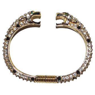 Kenneth Jay Lane Leopard Bracelet KJL Crystal Rhinestone Cat Cuff