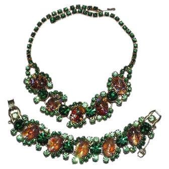 Juliana Cat's Eye Set Necklace Bracelet Green Rhinestones DeLizza Elster D & E