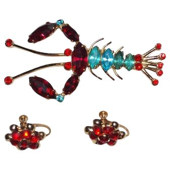 RARE Coro Lobster Brooch Set Earrings Blue Red Rhinestones