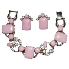 Juliana Pink Bracelet Earrings Set Clear Rhinestones