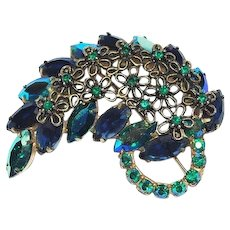 Peacock Blue Rhinestones Brooch Pin Jewelry