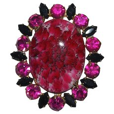Juliana Pink Art Glass Matrix Marbled Cabochon Brooch / Pendant