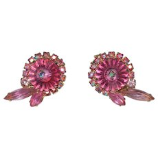 Juliana Pink Margarita Earrings with Open Back Pink Navettes and Pink Aurora Borealis