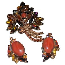 Coral Cabochon Moonstones and Brown Rhinestone Brooch and Earrings Set Unsigned Designer