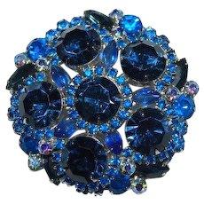 Blue Rhinestone Brooch Montana AB Brooch Pin