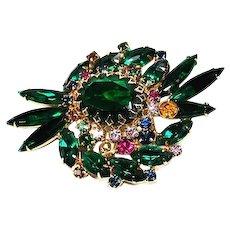 Green Navette Rhinestone Brooch Pin Multi Colored Chatons