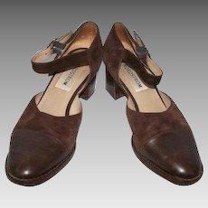 Women's Size 7 Shoes Italian Leather Brown Suede Ankle Strap