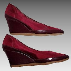 Women's Size 7 Shoes Famolare Platform Wine Red Fabric Wedge