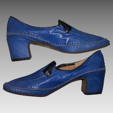 Size 6.5 Shoes Blue Leather High Heeled Hand Made Tap Dancing