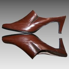 Women's Size 7/37 Shoes Brown Leather High Heeled Mules