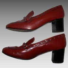 Women's Size 8 Shoes Etienne Aigner Oxblood Leather Wood Stack High Heeled