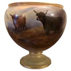 Beautiful Crown Devon Worcester Highland Cattle Vase/Urn/Jardiniere