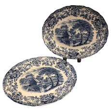 TWO Gorgeous Blue & White Transferware Vintage Meat Platters - Old Mill Stream Made in England