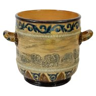 Hannah Barlow for Doulton Lambeth, Stoneware Twin Handled Ice Bucket, Vase, Urn, Jardiniere