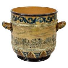 Hannah Barlow for Doulton Lambeth, Stoneware Twin Handled Ice Bucket, Vase, Urn, Jardiniere