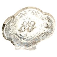 Victorian Oval Shaped Trinket Tray, Angels, Cherubs - Sterling Silver - London 1900
