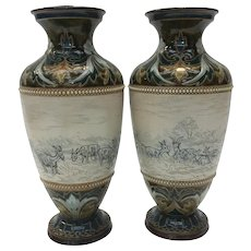 Pair of Hannah Barlow for Doulton Lambeth, Stoneware Matching Vases with Donkeys & Cattle
