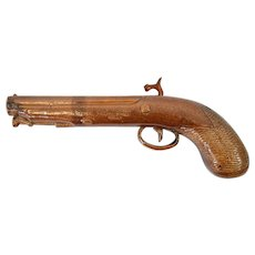 A Rare Victorian Doulton and Watts, Lambeth, Saltglazed, Stoneware Pistol Flask c 1840
