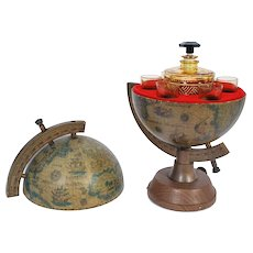 Vintage Drink Decanter Globe with Amber Glass & Decanter Set