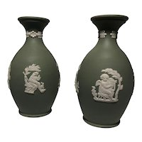 Pair of Wedgwood Jasperware Bud Vases - Made in England - Green