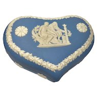 2 Wedgwood Jasperware Heart Pots w/Lids - Made in England - Valentine's Day