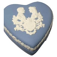 Blue Wedgwood Jasperware Heart Box & Pair of Sm. Trays - Made in England