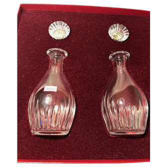 Beautiful Vintage Set of Baccarat Oil & Vinegar Bottles w/ Stoppers - Box