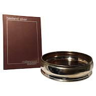 Haviland Sterling Silver & Oak Large Wine Coaster in Box - Made in England, Hallmarked