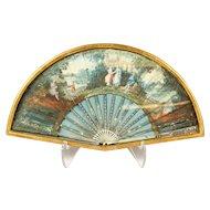18th Century French Fan framed in Glazed Gilt Frame - Gorgeous
