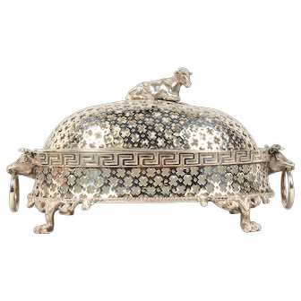 Rare 19th c. Victorian Pierced Silver Plated Oval Butter Dish w Cow Finial & Glass Liner