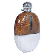 Vintage Silver Plated & Crocodile Skip Hop / Whiskey Flask