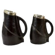 2 Graduated Royal Doulton Leather Ware Jugs w Silver Collars