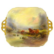 Royal Worcester, Highland Cattle 1926 Twin Handled Tray