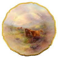Harry Stinton Royal Worcester, Highland Cattle Painted Plate - Gilt Border