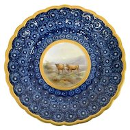 Grainger Worcester Cabinet Plate, Painted w Highland Cattle - Gilt Rim