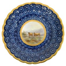 Grainger Worcester Cabinet Plate, Painted w Highland Cattle - Gilt Rim