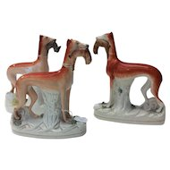 3 Staffordshire Whippet Dogs - Pair + 1 Single 19th Century - Game / Hare in Mouth