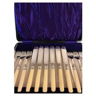 Vintage Cased Silver Plate Fish Set - 6 Forks & 6 knives - Sheffield Hallmarked -From England