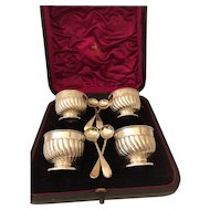 19th Century Victorian Cased Set of Sterling Silver Salts with Spoons