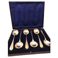SilverPlate Set of Six Soup / Serving Spoons - Made in England - Hallmarked