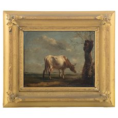 19th Century Oil on Panel, A cow in the Meadow - From Europe