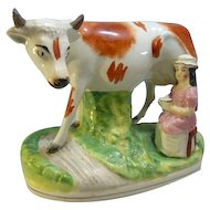 19th Century Staffordshire Large Cow & Milk Maid