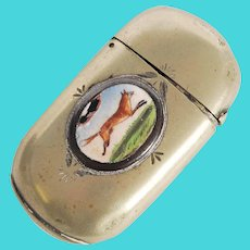 Silver Plated Vesta Match Case - Hunting / Fox - From England