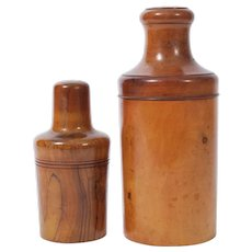 Two Early 20th Century Turned Olive Wood Bottle Casings with Bottles -From England