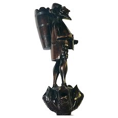 Black Forest Figural Pipe Stand, Carved as a Fish / Bearded Man 19th Century